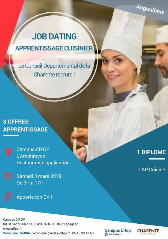 Job dating apprentissage cuisinier centre information for Job cuisinier
