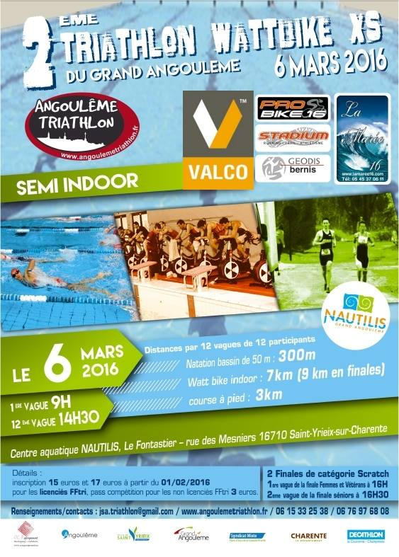 Triathlon wattbike xs du grand angoul me centre for Angouleme piscine nautilis